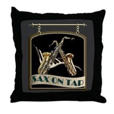 Sax On Tap Pub Sign Throw Pillow