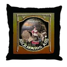 The Milkmaids Ass Pub SIgn Throw Pillow