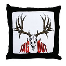 Mule deer tag out Throw Pillow