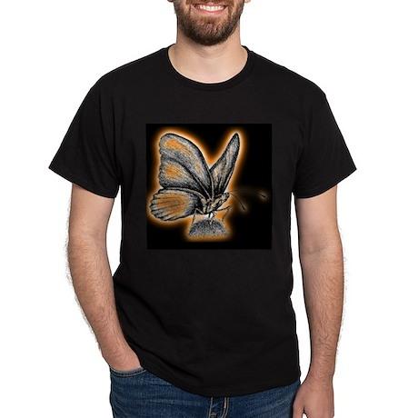Orange Neon Butterfly Black T-Shirt
