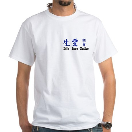 White Life Love Tattoo Kanji T-Shirt