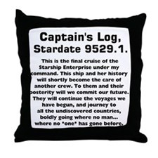 Capt.'s Log Stardate 9529.1. Throw Pillow
