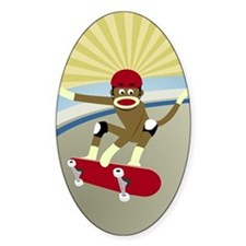 Sock Monkey Skateboarder Decal