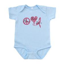 Peace Love Cure (Pink Ribbon) Infant Bodysuit