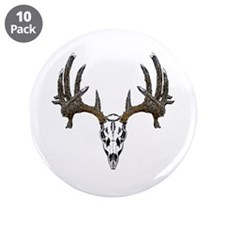 "Whitetail deer skull 3.5"" Button (10 pack)"