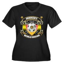 Germany World Soccer Women's Plus Size V-Neck Dark