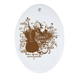 Music Speaks Cello Ornament (Oval)