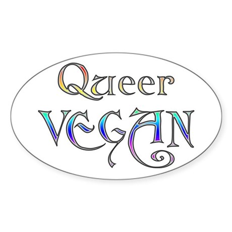 Queer Vegan Oval Sticker