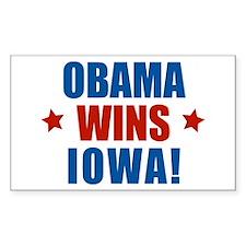 Obama Wins Iowa Sticker (Rectangular)