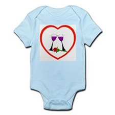 Wine and Rose Heart Infant Creeper