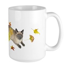 Siamese Cat Fall Leaves Mug