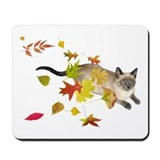 Siamese Cat Fall Leaves Mousepad
