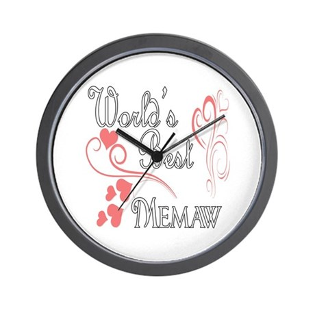 Best Memaw (Pink Hearts) Wall Clock