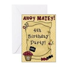 4th Birthday Pirate Greeting Cards (Pk of 10)