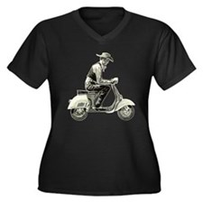 Scooter Cowboy Women's Plus Size V-Neck Dark T-Shi