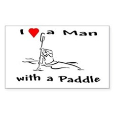 I Love a Man with a Paddle Rectangle Decal