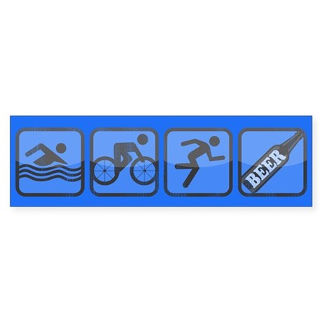 Swim, Bike, Run, BEER! Bumper Sticker