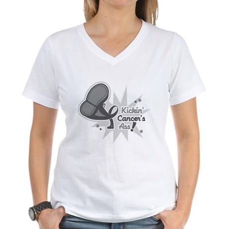 Kickin BrainCancer's Ass Women's V-Neck T-Shirt