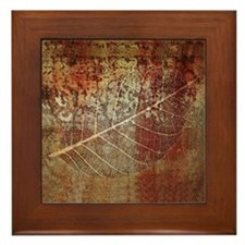 Fossil leaf Framed Art Tile Ceramic