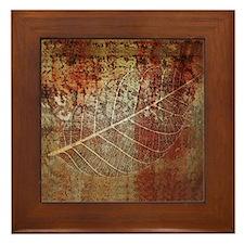 Fossil leaf Framed Art Tile Ceramic