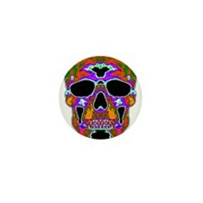 Psychedelic Skull Mini Button