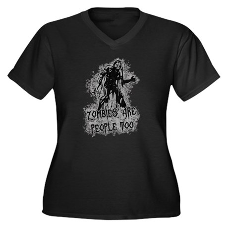 Zombies Are People Too Womens Plus Size V-Neck Da