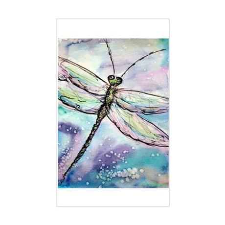 Dragonfly, Beautiful, Sticker (Rectangle)