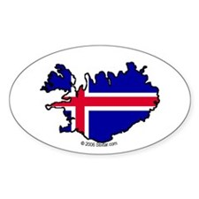 Iceland National Flag Outline Oval Decal