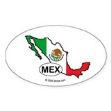 Mexico-mini National Flag Outline Oval  Aufkleber