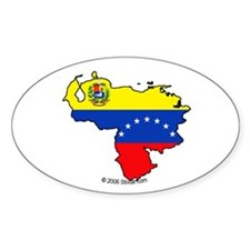 Venezuela National Flag Outline Oval Decal