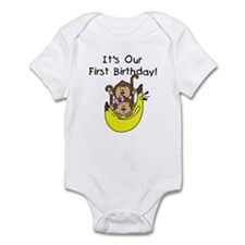 Twin Boy and Girl 1st Birthday Infant Bodysuit