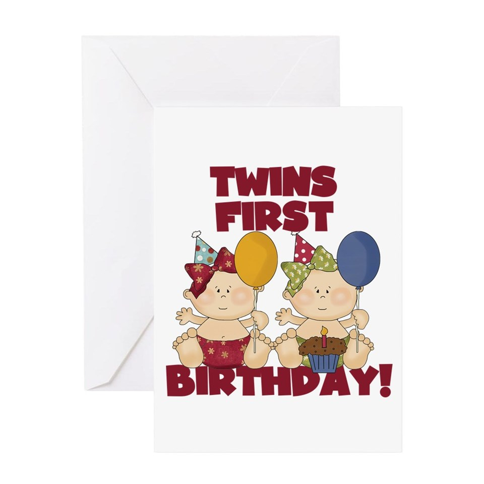 Twins First Birthday Greeting Cards Buy