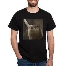 Otter Portrait Apparel Black T-Shirt