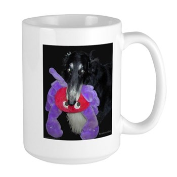 Black Borzoi Barnabas with Toy Large Mug