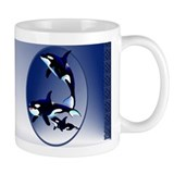 Killer Whale Family Oval Coffee Mug
