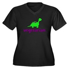 Vegetarian - Dinosaur Women's Plus Size V-Neck Dar