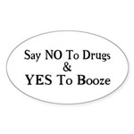 Yes To Booze Sticker (Oval 50 pk)