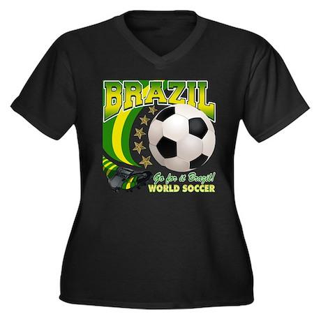 Brazil Soccer Goal Kick 2010 Women's Plus Size V-N