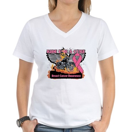 RideForaCure Breast Cancer Women's V-Neck T-Shirt