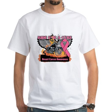 RideForaCure Breast Cancer White T-Shirt