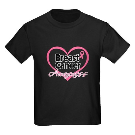 Breast Cancer Awareness Heart Kids Dark T-Shirt