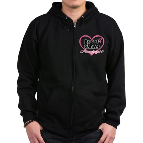 Breast Cancer Awareness Heart Zip Hoodie (dark)