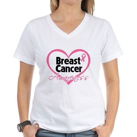 Breast Cancer Awareness Heart Women's V-Neck T-Shi