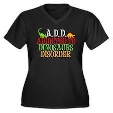 Funny Dinosaur Women's Plus Size V-Neck Dark T-Shi