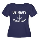 Navy Mom Women's Plus Size Scoop Neck Dark T-Shirt