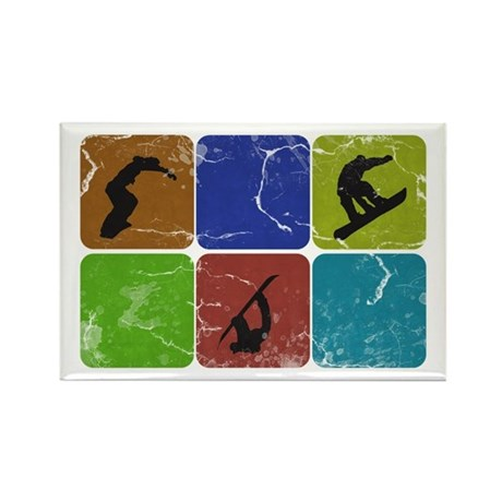Snowboarder Rectangle Magnet (100 pack)