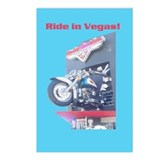 Ride in Vegas Postcards Blue Background
