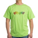 Watercolor Rainbow Hearts Green T-Shirt