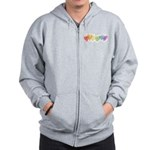 Watercolor Rainbow Hearts Zip Hoodie