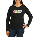 Watercolor Rainbow Hearts Women's Long Sleeve Dark